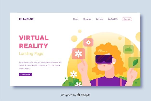 Diseño plano de la página de aterrizaje de realidad virtual vector gratuito