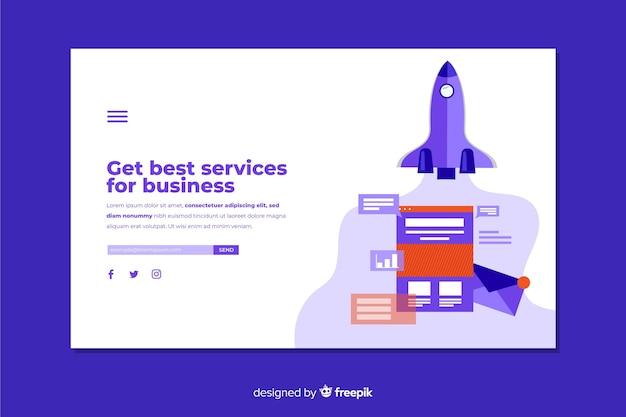 Diseño plano de la página de destino de negocios vector gratuito