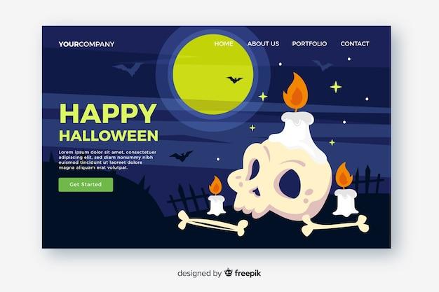 Diseño plano de la página de inicio de halloween vector gratuito