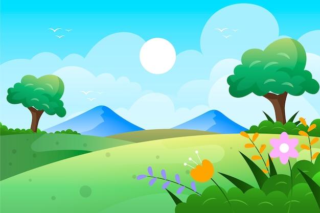 Diseño plano paisaje de primavera con campo y montañas vector gratuito