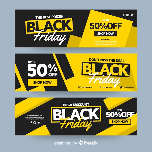Diseño plano de pancartas de viernes negro Vector Premium