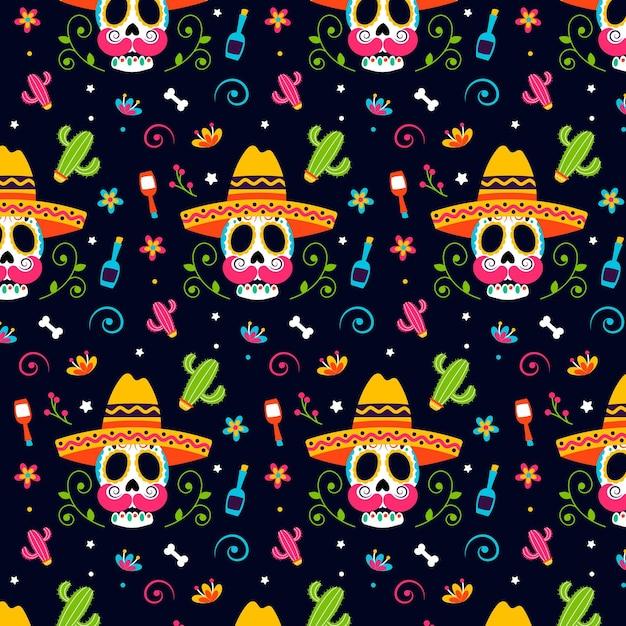 Diseño plano del patrón del día de los muertos vector gratuito