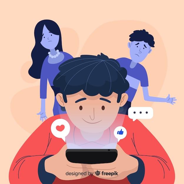 Diseño plano del personaje dependiente de las redes sociales vector gratuito