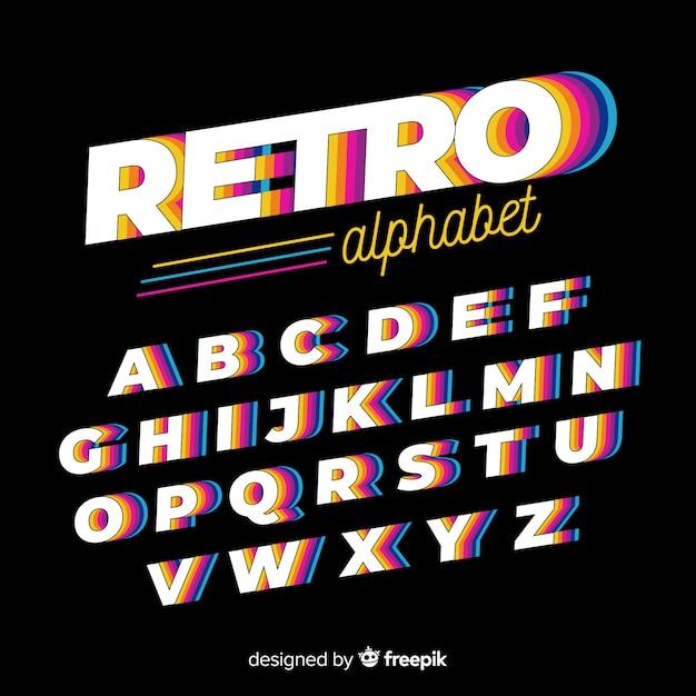 Diseño plano de plantilla de alfabeto vintage vector gratuito