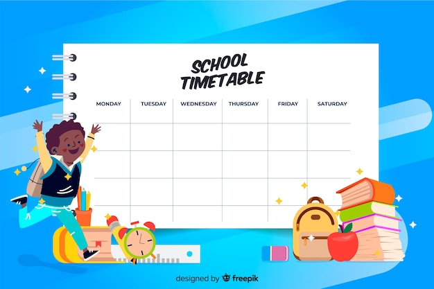 Diseño plano de plantilla de calendario escolar colorido vector gratuito
