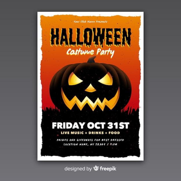 Diseño plano de plantilla de cartel de fiesta de halloween vector gratuito