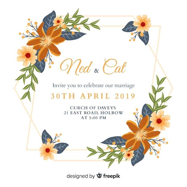 Diseño plano de la plantilla de la invitación de la boda vector gratuito
