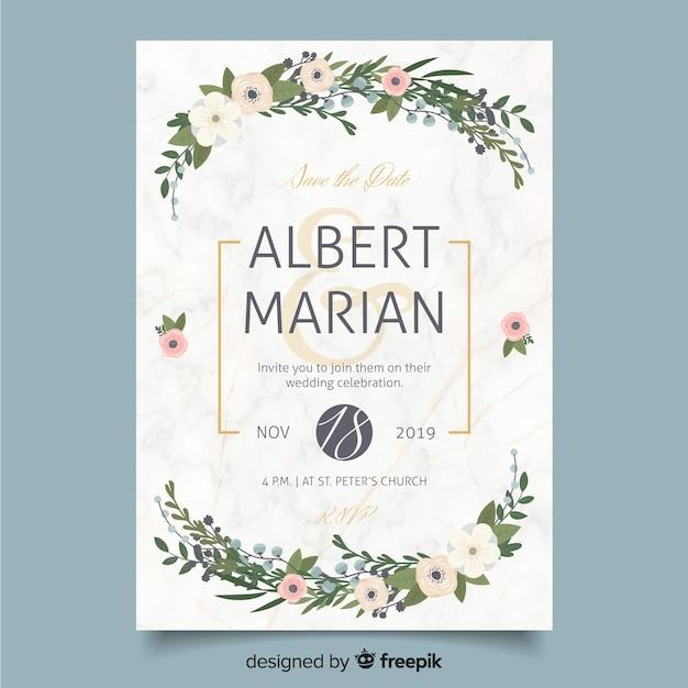 Diseño plano de plantilla de invitación de boda vector gratuito