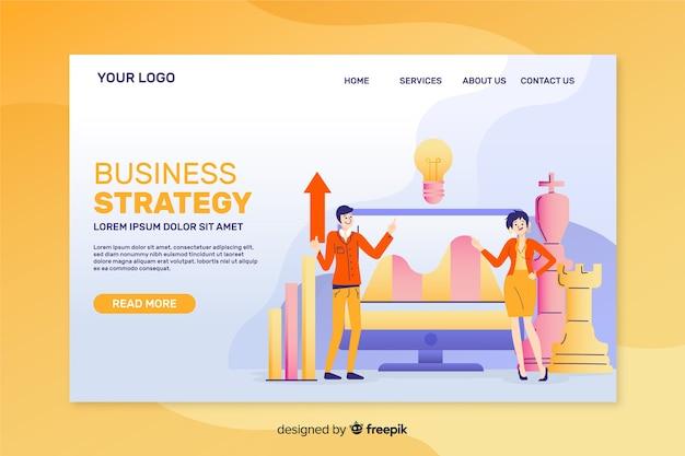 Diseño plano de plantilla de página de aterrizaje de estrategia empresarial vector gratuito
