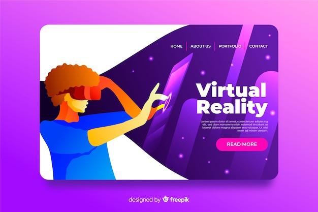 Diseño plano de plantilla de página de aterrizaje de realidad virtual vector gratuito