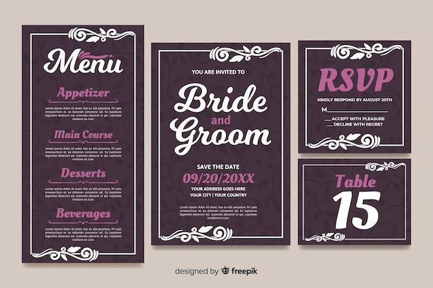 Diseño plano de plantilla de papelería de boda vector gratuito