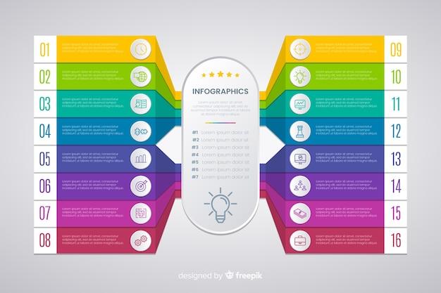 Diseño plano de plantilla de pasos de infografía vector gratuito