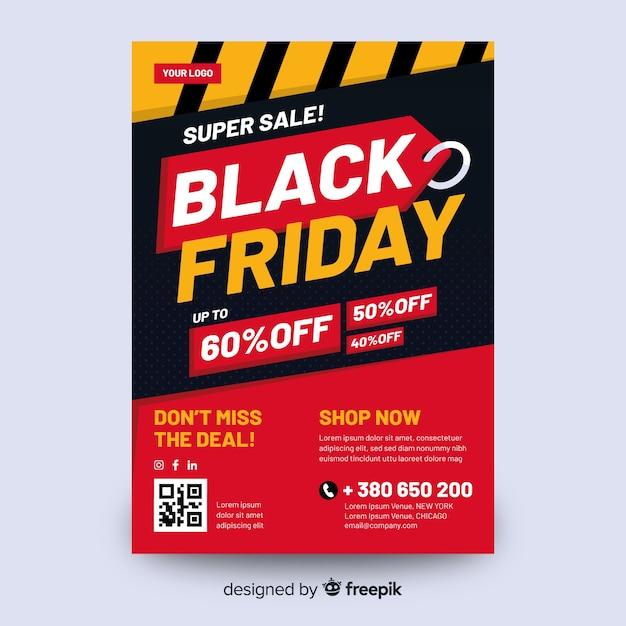 Diseño plano de plantilla de volante de viernes negro vector gratuito