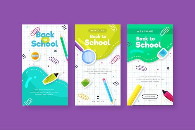 Diseño plano de regreso a la escuela colección de historias de instagram Vector Premium