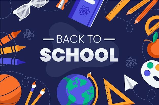 Diseño plano de regreso a la escuela. vector gratuito