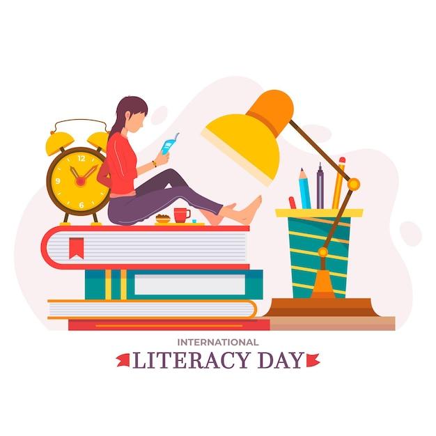 Diseño plano tema del día internacional de la alfabetización vector gratuito