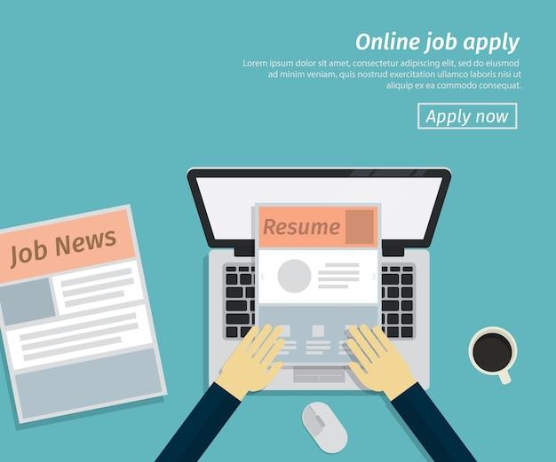Diseño plano de trabajo en línea se aplica Vector Premium