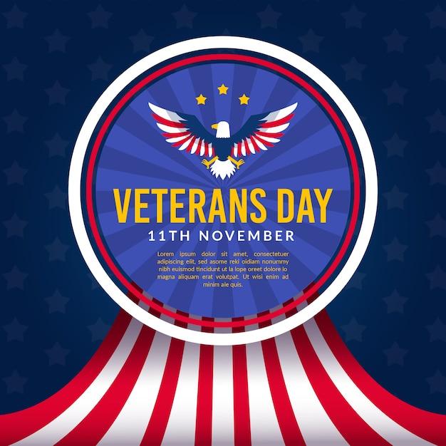 Diseño plano de veteranos con bandera americana vector gratuito