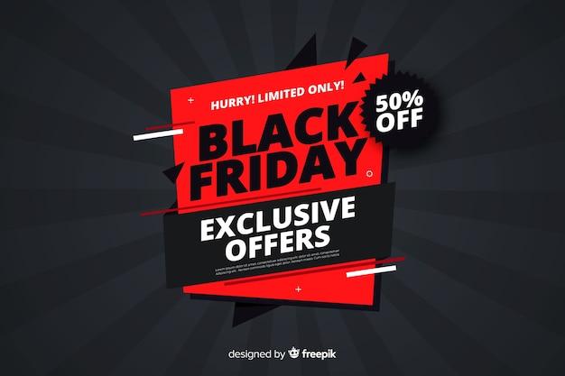 Diseño plano viernes negro ofrece banner Vector Premium