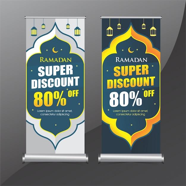 Diseño de plantilla de banner de pie ramadán Vector Premium
