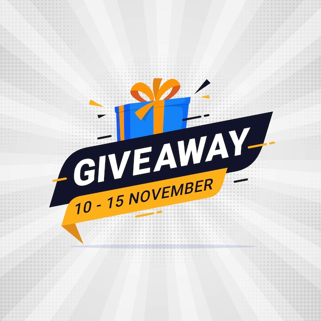 Diseño de plantilla de banner de sorteo para publicación en redes sociales Vector Premium