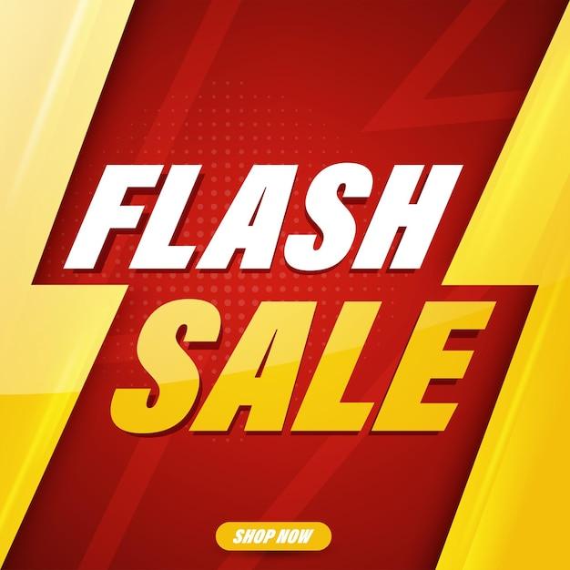 Diseño de plantilla de banner de venta flash para web o redes sociales. Vector Premium