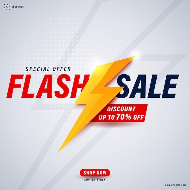 Diseño de plantilla de banner de venta flash Vector Premium