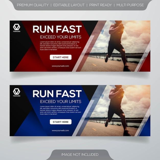 Diseño de plantilla de banner web maratón Vector Premium