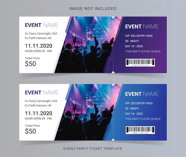 Diseño de plantilla de boleto de evento Vector Premium