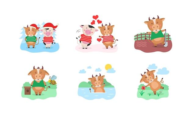 Diseño de plantilla de calendario año 2021 chino feliz con vaca linda. diseño de calendario 2021 con toro con aficiones en diferentes épocas del año. conjunto de 12 meses. año del toro. Vector Premium