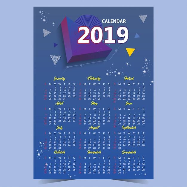 Calendario 2019 Moderno.Diseno De Plantilla De Calendario Moderno 2019 Descargar