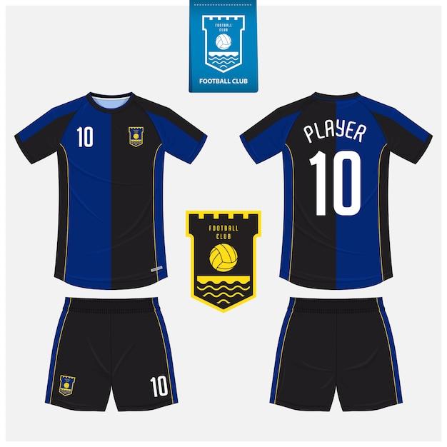 Diseño de plantilla de camiseta de fútbol o kit de fútbol. Vector Premium