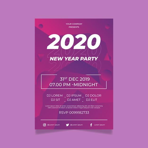 Diseño de plantilla de cartel de diseño plano fiesta de año nuevo 2020 vector gratuito