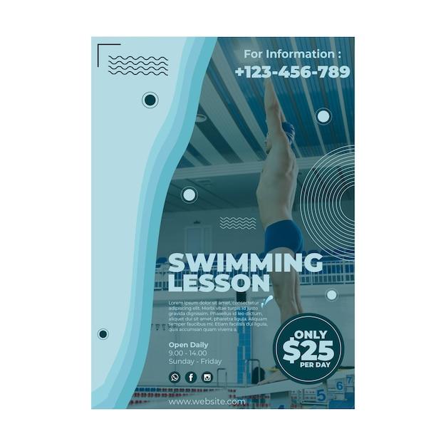 Diseño de plantilla de cartel de lección de natación vector gratuito