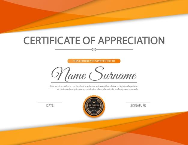Diseño de plantilla de certificado naranja | Descargar ...
