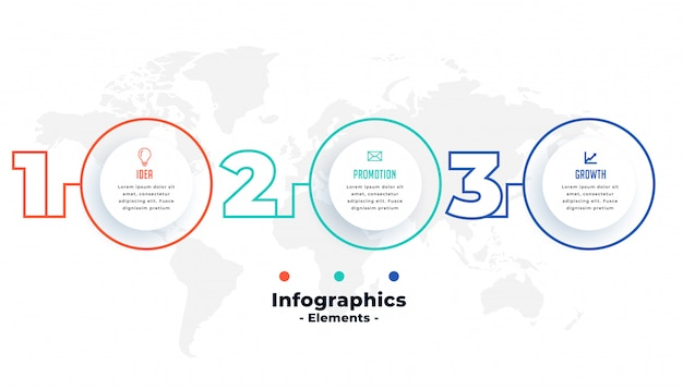 Diseño de plantilla circular de presentación infográfica de tres pasos vector gratuito