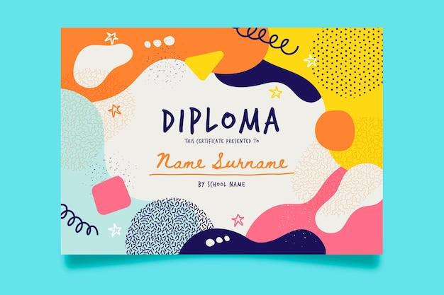 Diseño de plantilla de diploma para niños vector gratuito