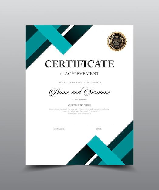 Diseño de plantilla de diseño de certificado. Vector Premium