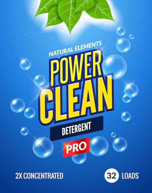 Diseño de plantilla de embalaje de detergente para ropa. diseño en polvo detergente concepto fresco de detergente limpio bajo el agua Vector Premium