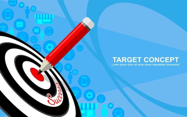 Diseño de plantilla de estrategia de negocio de marketing de destino. dardos objetivo, lápiz e icono de fondo Vector Premium