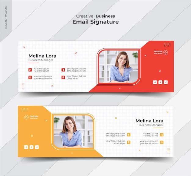 Diseño de plantilla de firma de correo electrónico y portada de redes sociales personales Vector Premium