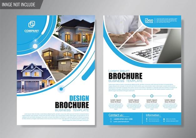 Diseño de la plantilla de folleto y folleto para el informe anual Vector Premium