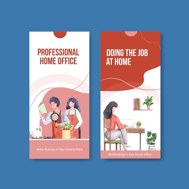 Diseño de plantilla de folleto y folleto con personas que trabajan desde casa. ilustración de vector de acuarela de concepto de oficina en casa vector gratuito