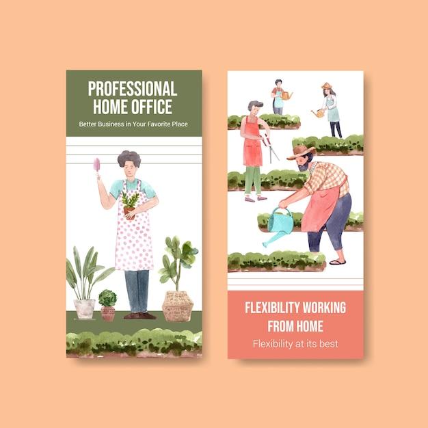 Diseño de plantilla de folleto y folleto con personas que trabajan desde su casa en el jardín. ilustración de vector de acuarela de concepto de oficina en casa vector gratuito