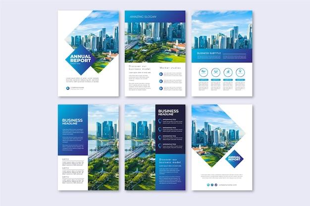 Diseño de plantilla de folleto para informe anual Vector Premium