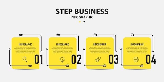 Diseño de plantilla de gráficos de información de pasos de línea de tiempo gráfico de información empresarial Vector Premium