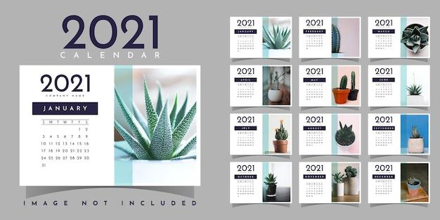 Diseño de plantilla de ilustración de calendario 2021 Vector Premium