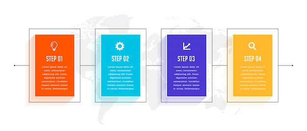 Diseño de plantilla de infografía empresarial de línea de tiempo de cuatro pasos vector gratuito