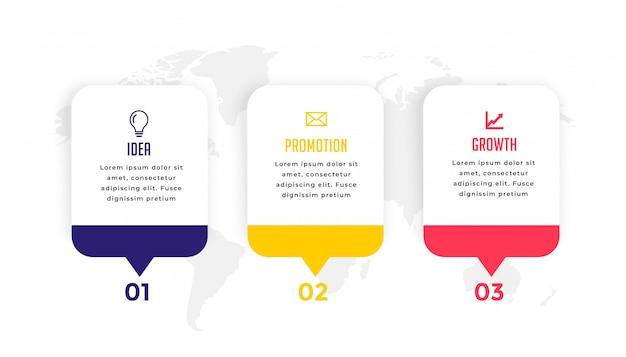 Diseño de plantilla de infografía empresarial moderna de tres pasos vector gratuito