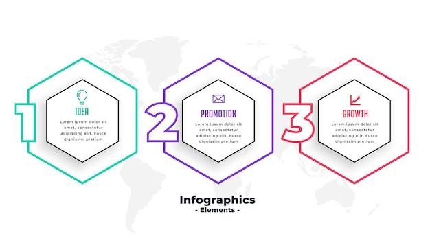 Diseño de plantilla de infografía de forma hexagonal de tres pasos vector gratuito
